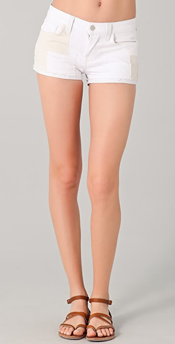 J Brand Leather Trim Denim Shorts