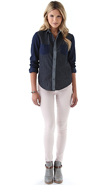 J Brand Colorblock Chambray Shirt