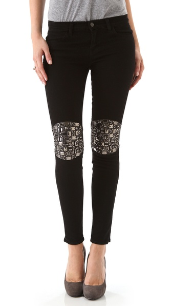 J Brand Mid Rise Skinny Jeans with Embellished Knees