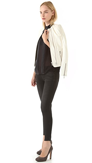 J Brand Coated Legging Jeans with Back Zip