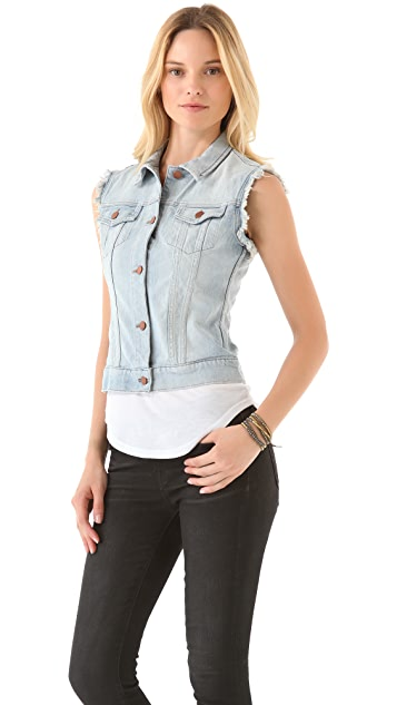 J Brand Deconstructed Denim Vest