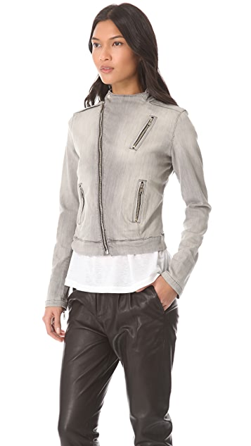 J Brand Grey Racer Moto Zip Jacket