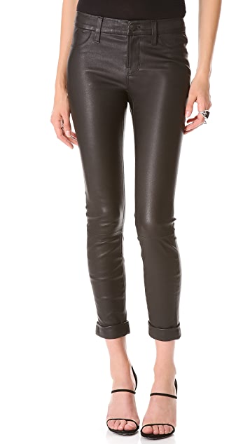 J Brand Anja Cuffed Leather Pants