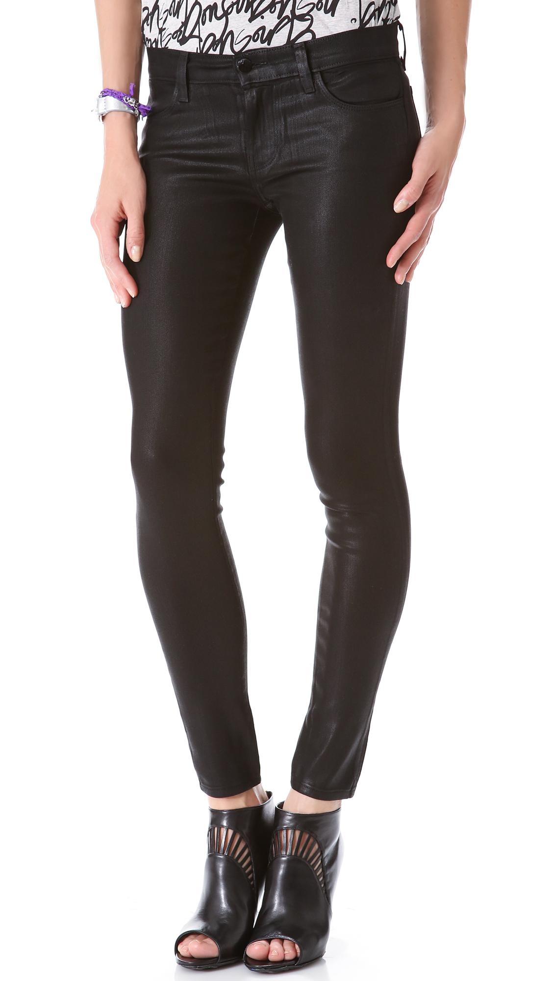 Black coated skinny jeans nz