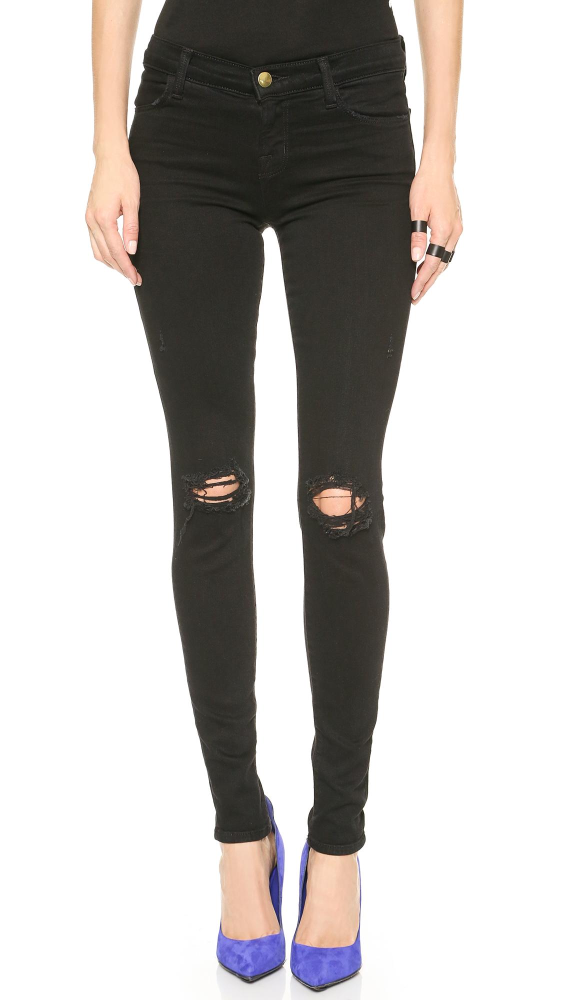 J brand ripped black skinny jeans