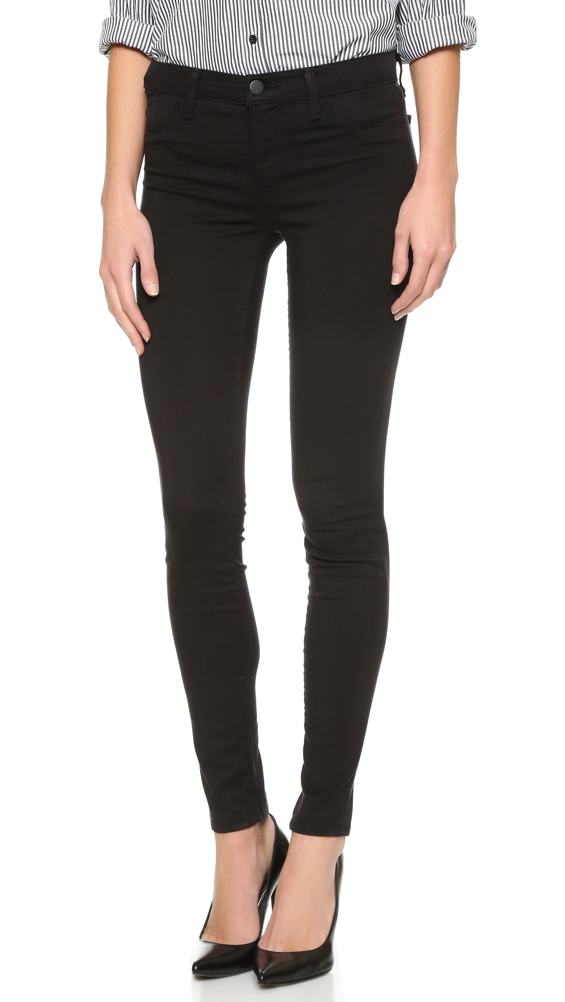 J Brand 485 Super Skinny Luxe Sateen Jeans - Black