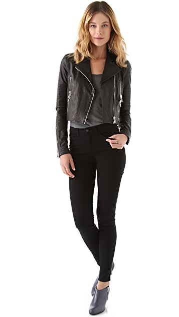 J Brand Ready-to-Wear Aiah Leather Biker Jacket