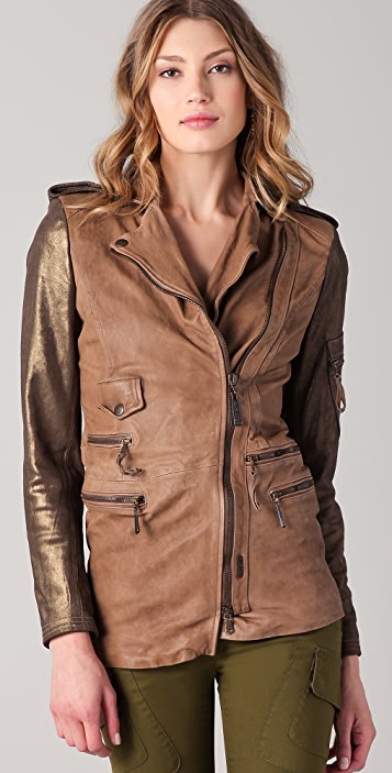 Just Cavalli Mid Length Leather Moto Jacket