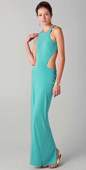 Just Cavalli Asymmetrical Cut Out Long Dress