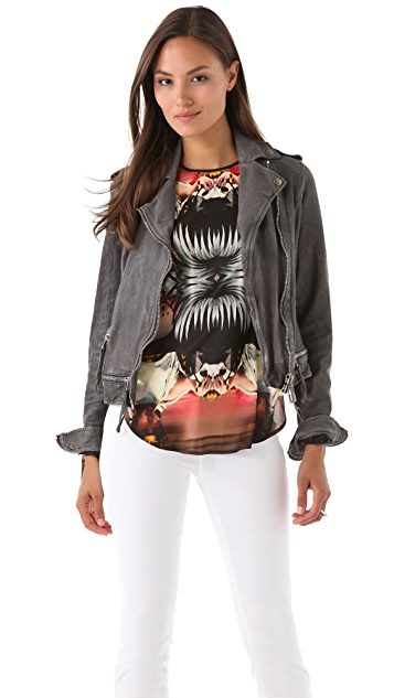Just Cavalli Zip Washed Leather Jacket
