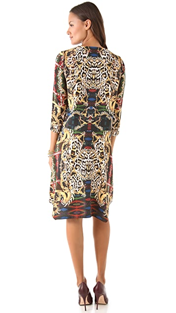 Just Cavalli Print Dress with Uneven Hem