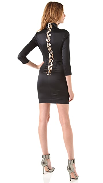 Just Cavalli Satin Dress with Leopard Panel