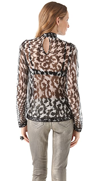 Just Cavalli Paneled Printed Blouse