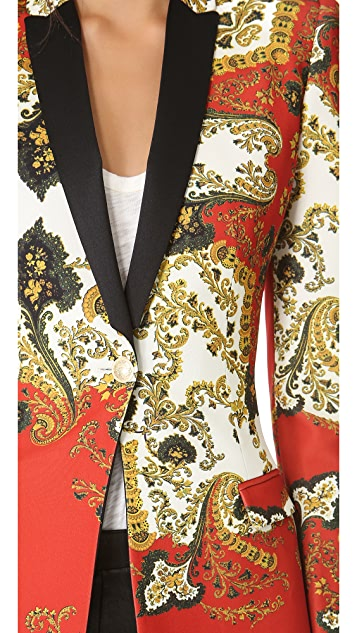 Just Cavalli Paisley Crown Print Fitted Blazer