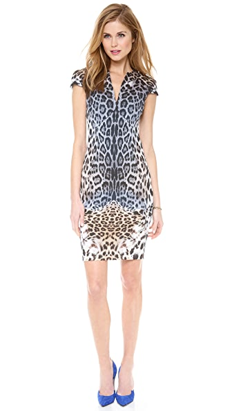 Just Cavalli Leo Degrade Print Cap Sleeve Dress