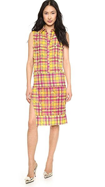 Just Cavalli Tartan Print Shirtdress
