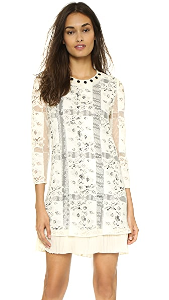 Shop Just Cavalli online and buy Just Cavalli Long Sleeve Shift Dress White Mushroom online store