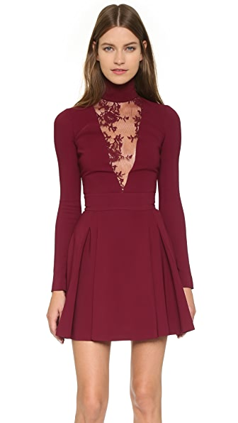 Just Cavalli High Neck Lace Inset Dress