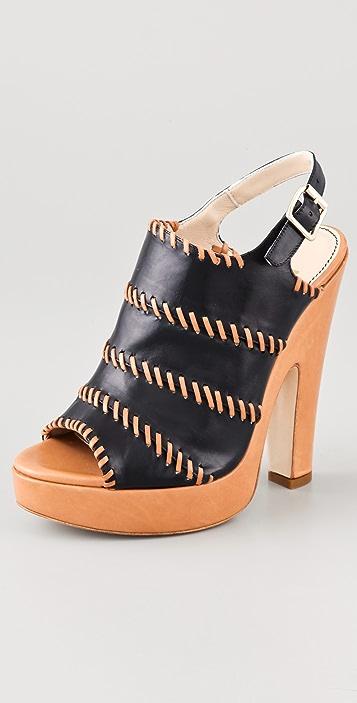 Jerome C. Rousseau Niro Leather High Heel Sandals
