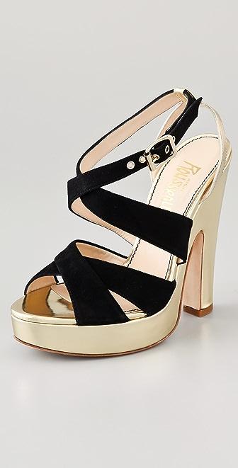 Jerome C. Rousseau Daho Suede Crisscross Sandals