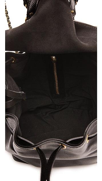 Jerome Dreyfuss Florent Caviar Noir and Noir Velvet Bag