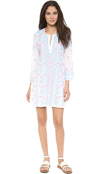 Juliet Dunn Paisley Embroidered Caftan