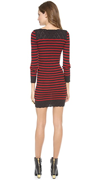 Jean Paul Gaultier Long Sleeve Striped Knit Dress
