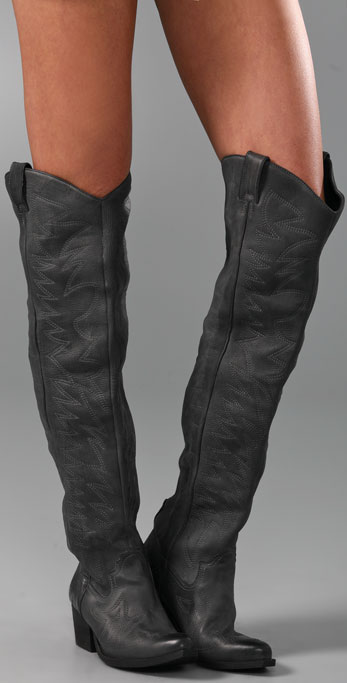 a0929be6019 Jeffrey Campbell Slither Over the Knee Boots with Flame Stitch