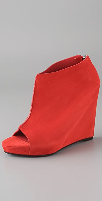 Jenni Kayne Suede Open Toe Wedge Booties