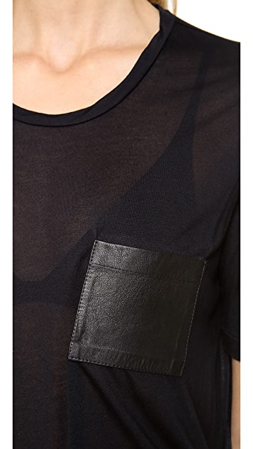 Jenni Kayne Leather Pocket Tissue Tee
