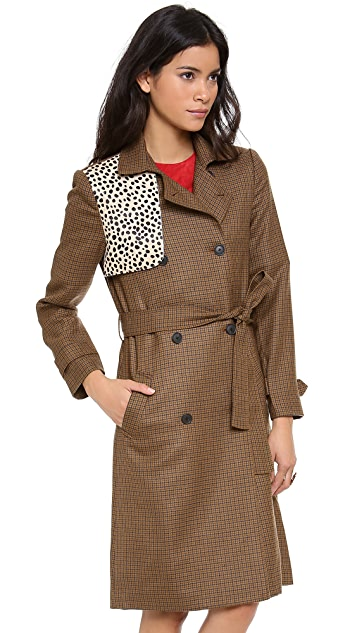 Jenni Kayne Haircalf Gun Flap Trench Coat