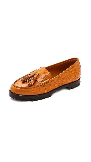 Jenni Kayne Croc Embossed Tassel Loafers