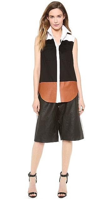 Josh Goot Leather Basketball Shorts