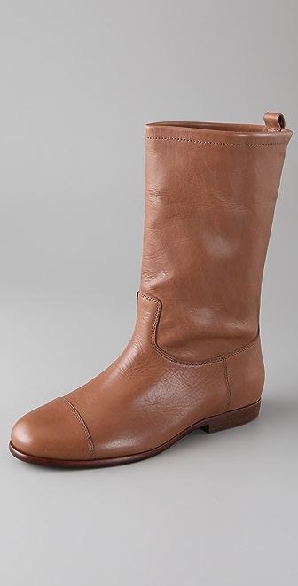 Jil Sander Navy Flat Mid Calf Boots