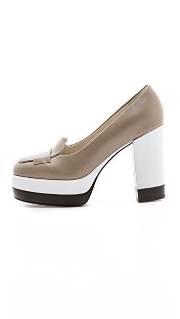 Jil Sander Navy Loafer Platform Pumps