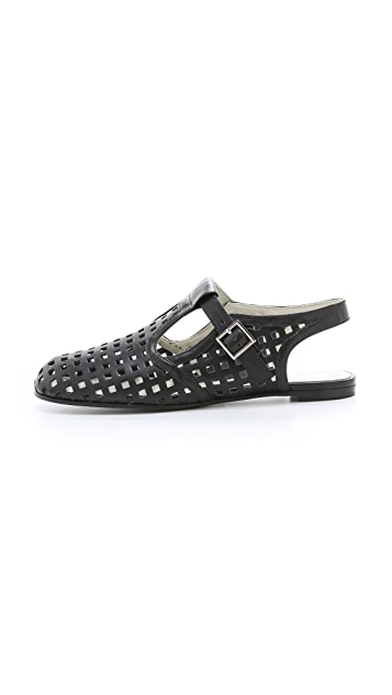 Jil Sander Navy Perforated Flats