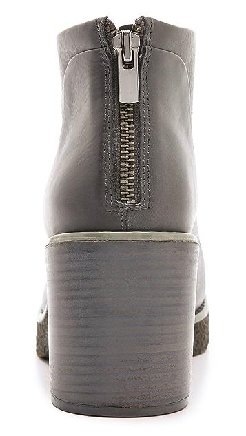 Jil Sander Navy Stacked Heel Platform Booties