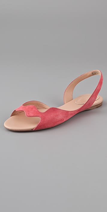 Jil Sander Wavy Suede Flat Sandals