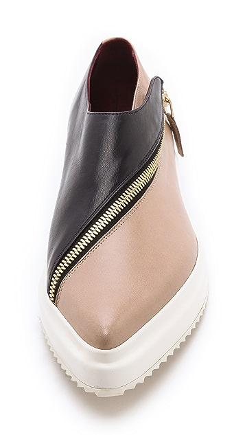 Jil Sander Two Toned Zipper Flats