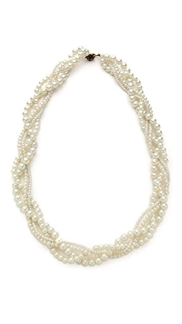 Juliet & Company Multi Imitation Pearl Braid Necklace