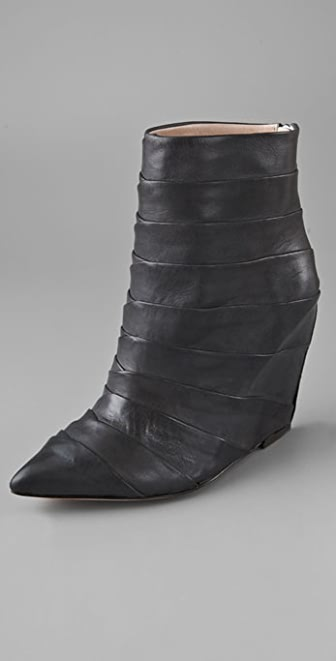 Jean-Michel Cazabat Paola Pleated Wedge Booties