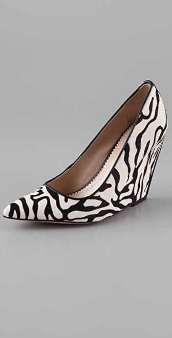 Jean-Michel Cazabat Penny Haircalf Wedge Pumps