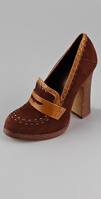Jean-Michel Cazabat Lidia Suede High Heel Loafers