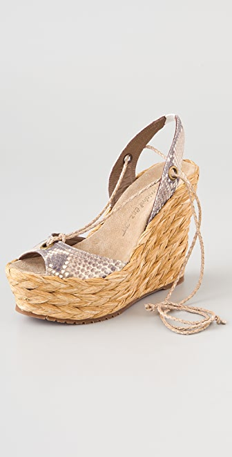 Jean-Michel Cazabat Halima Woven Wedge Sandals