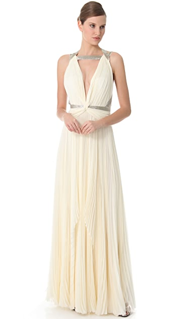 J. Mendel Pleated Gown with Beaded Straps