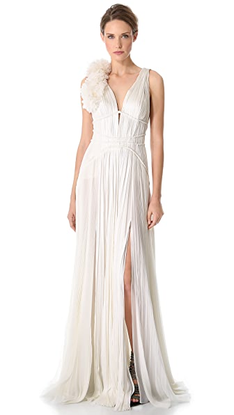 J. Mendel Sleeveless Pleated Gown