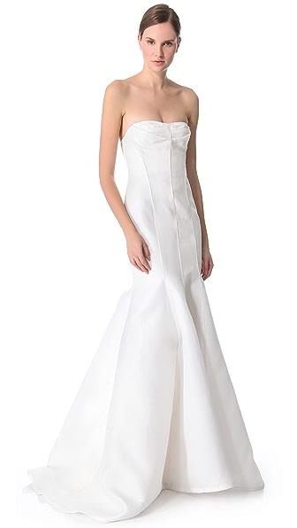 J. Mendel Вечернее платье «русалка» без бретелек Blanche