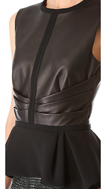 J. Mendel Leather Combo Peplum Top