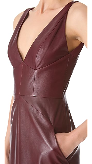 J. Mendel Leather V Sheath Dress
