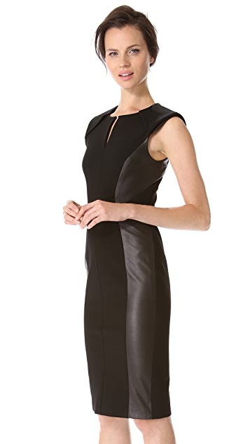 J. Mendel Leather Panel Pencil Dress